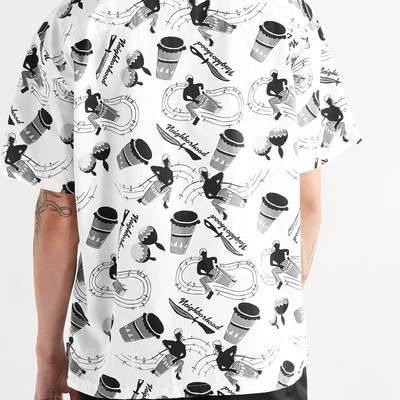 Neighborhood Camp-Collar Printed Cotton Shirt White Back