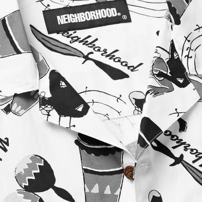Neighborhood Camp-Collar Printed Cotton Shirt White Detail 2