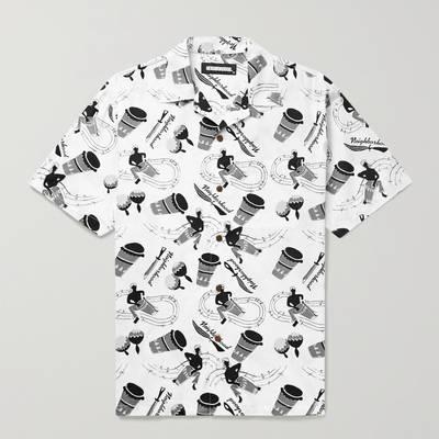 Neighborhood Camp-Collar Printed Cotton Shirt White