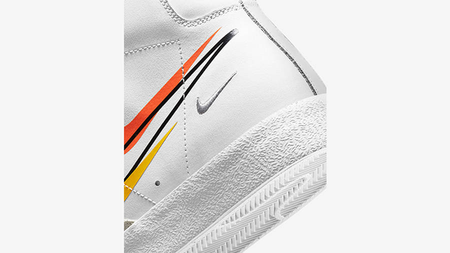Nike Blazer Mid 77 Multi Swoosh White Team Orange DN7996-100 Detail 2
