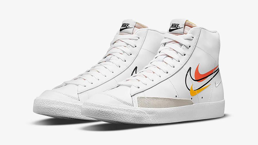 Nike Blazer Mid 77 Multi Swoosh White Team Orange DN7996-100 Side2