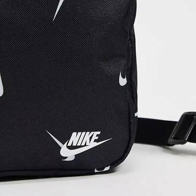 Nike Heritage All Over Logo Print Flight Bag Black Detail