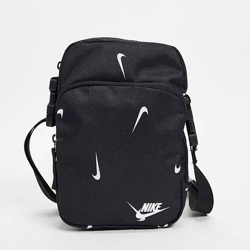 Nike Heritage All Over Logo Print Flight Bag Black Front