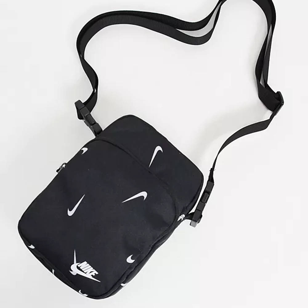 Nike Heritage All Over Logo Print Flight Bag Black