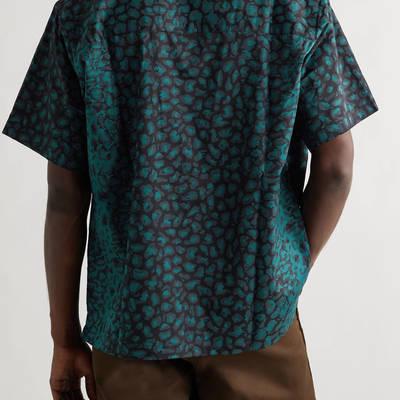 WTAPS Night Vision Camp-Collar Leopard-Print Cotton-Twill Shirt Green Back