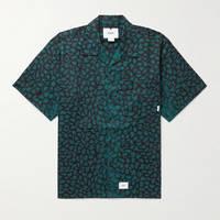 WTAPS Night Vision Camp-Collar Leopard-Print Cotton-Twill Shirt Green