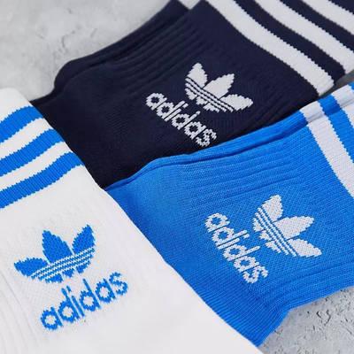 adidas Adicolor Trefoil Mid Cut Socks Blue Detail 2
