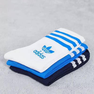 adidas Adicolor Trefoil Mid Cut Socks Blue Detail