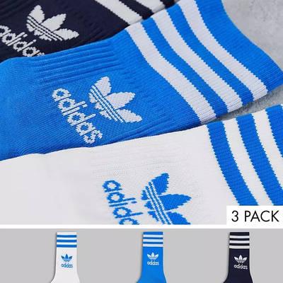 adidas Adicolor Trefoil Mid Cut Socks Blue