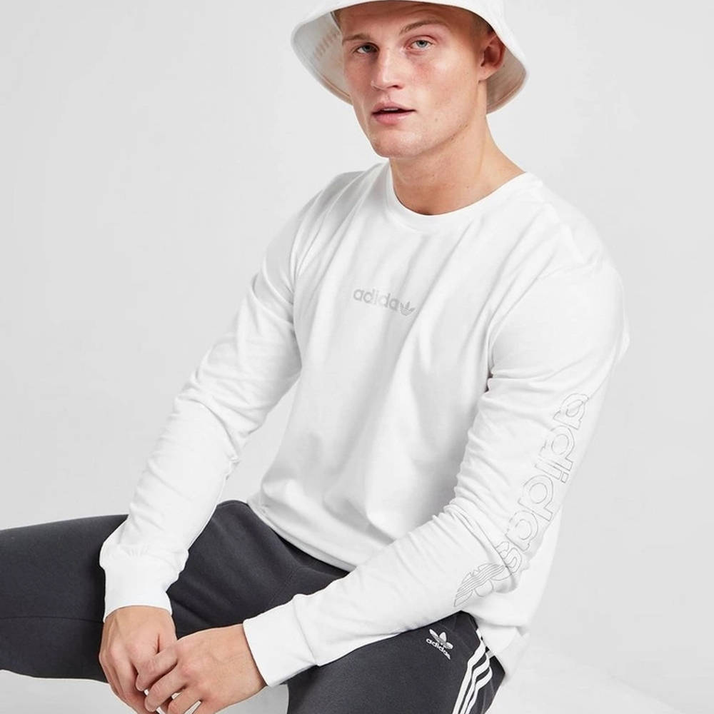 adidas Long Sleeve Outline T-Shirt White