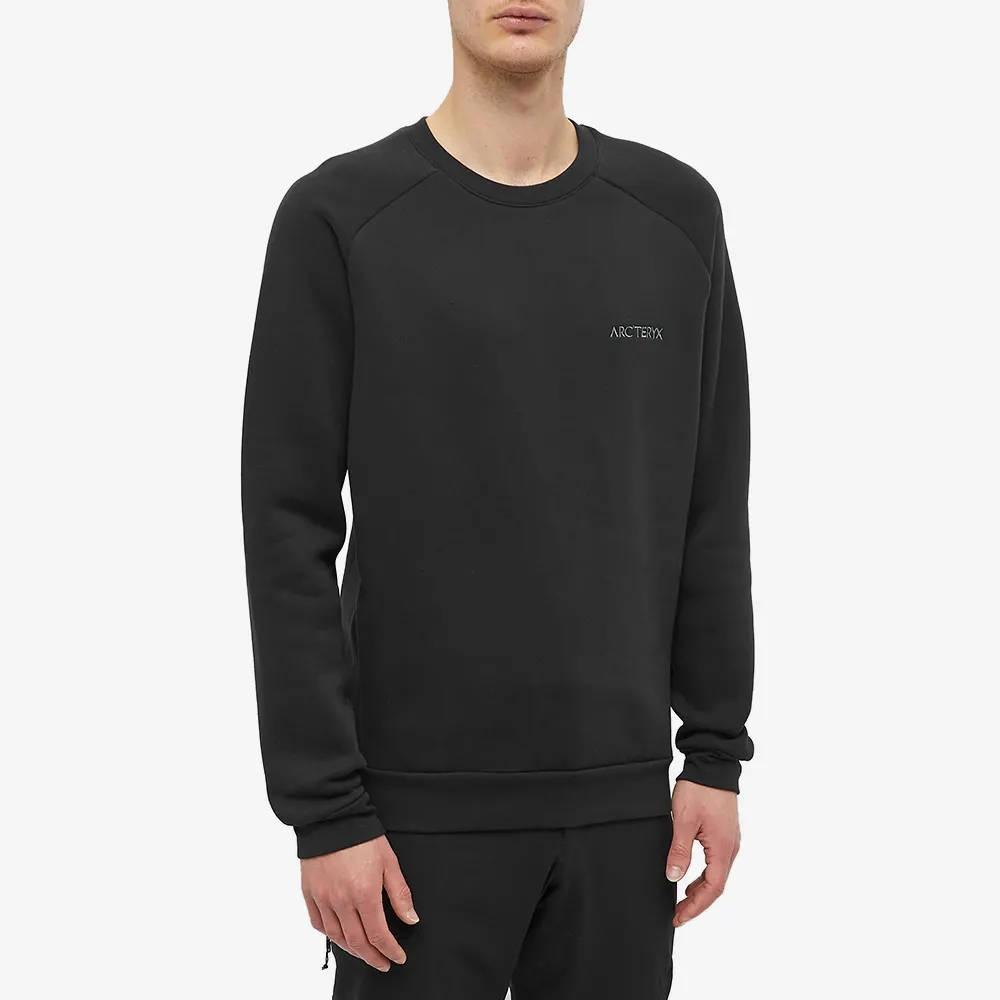 Arc'teryx Word Emblem Crew Sweatshirt Black Front