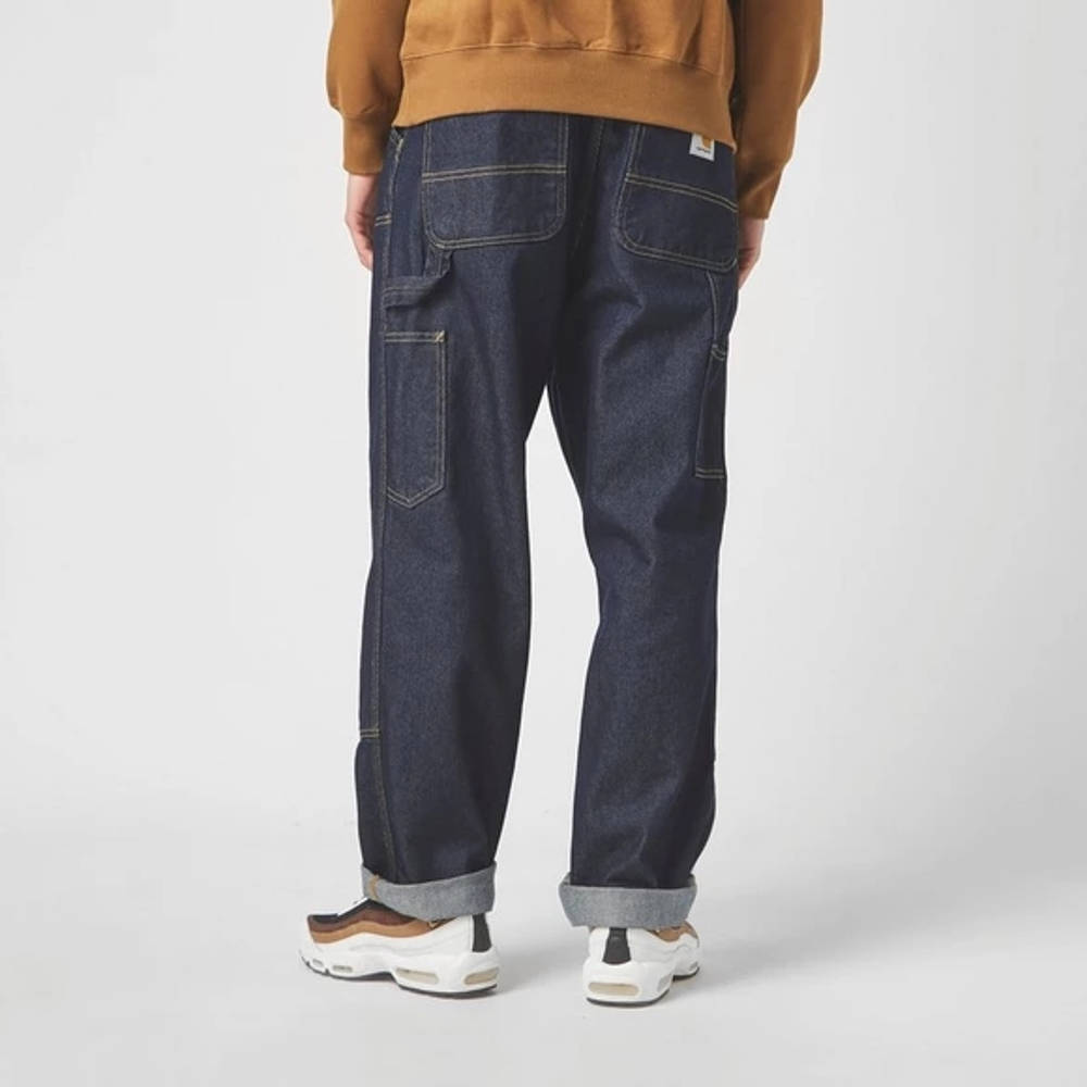 Carhartt WIP Double Knee Denim Mid Wash Jeans Blue Back