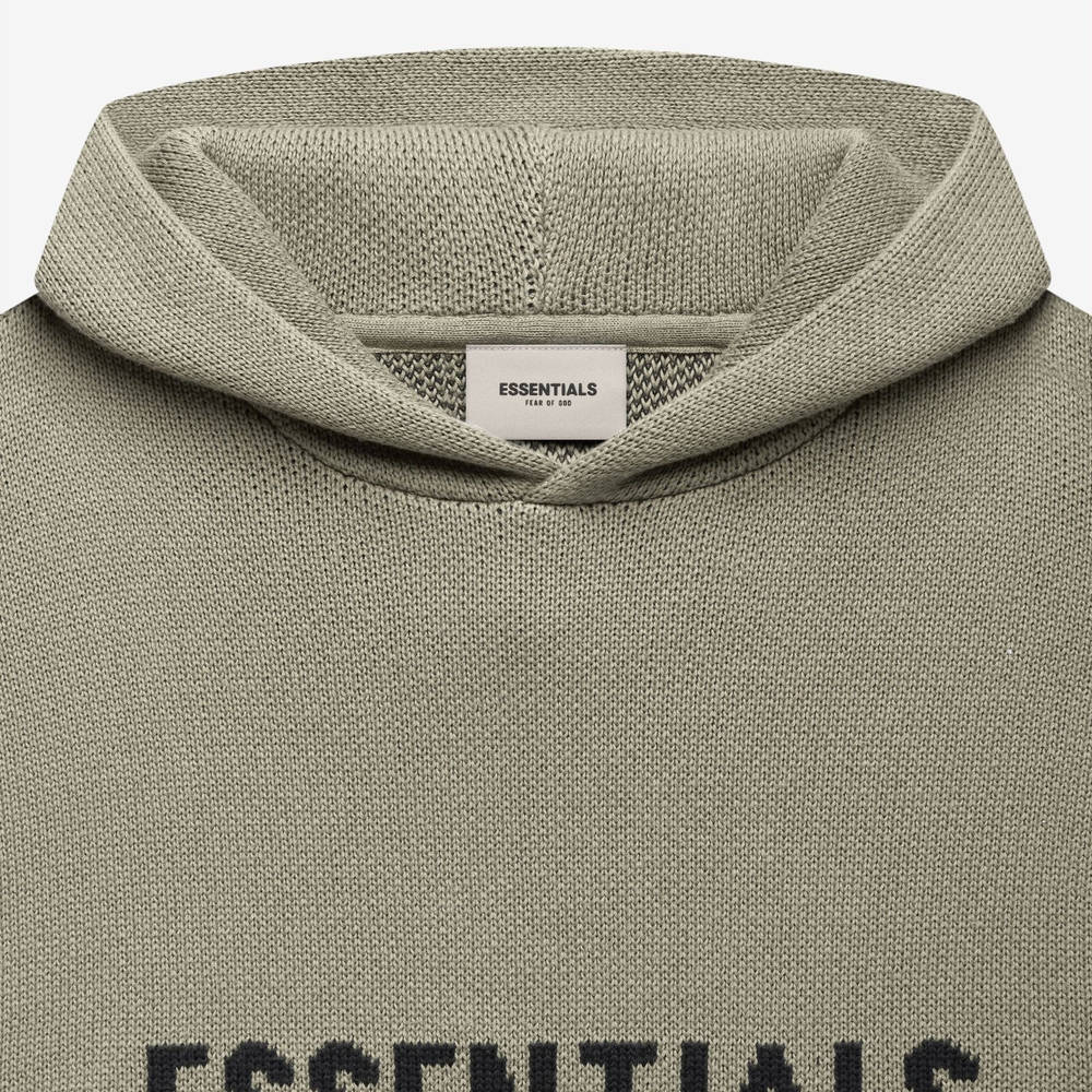 Fear of God ESSENTIALS Summer Knitted Hoodie Pistachio Detail