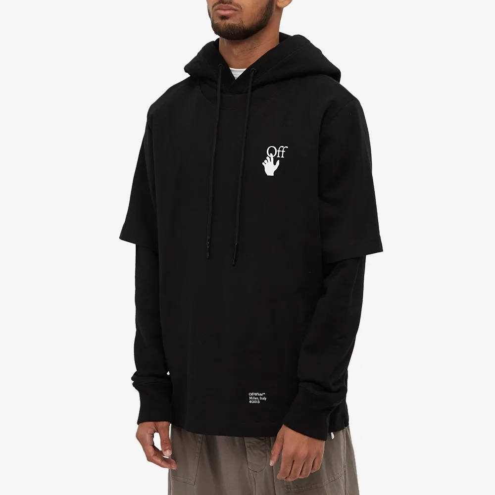 Off-White Caravaggio Arrow Double Sleeve Hoodie Black Front