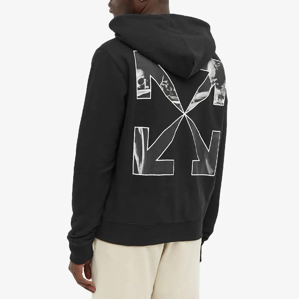 Off-White Caravaggio Arrow Slim Zip Hoodie Black Back
