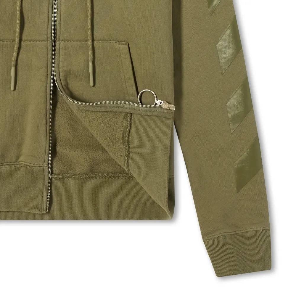 Off-White Rubber Arrow Slim Zip Hoodie Green Detail