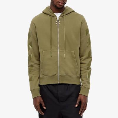 Off-White Rubber Arrow Slim Zip Hoodie Green Front