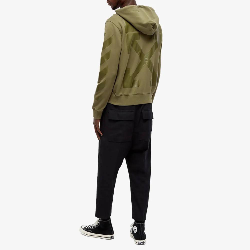 Off-White Rubber Arrow Slim Zip Hoodie Green Full