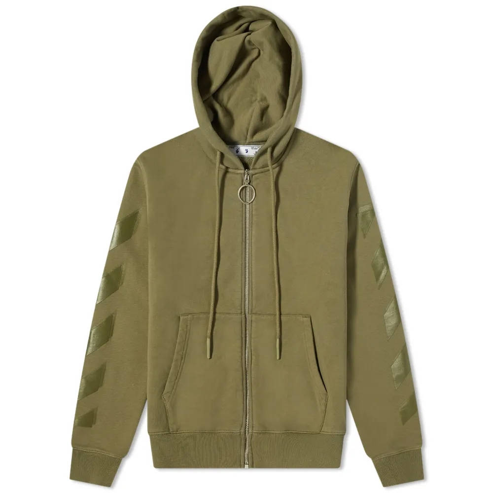 Off-White Rubber Arrow Slim Zip Hoodie Green