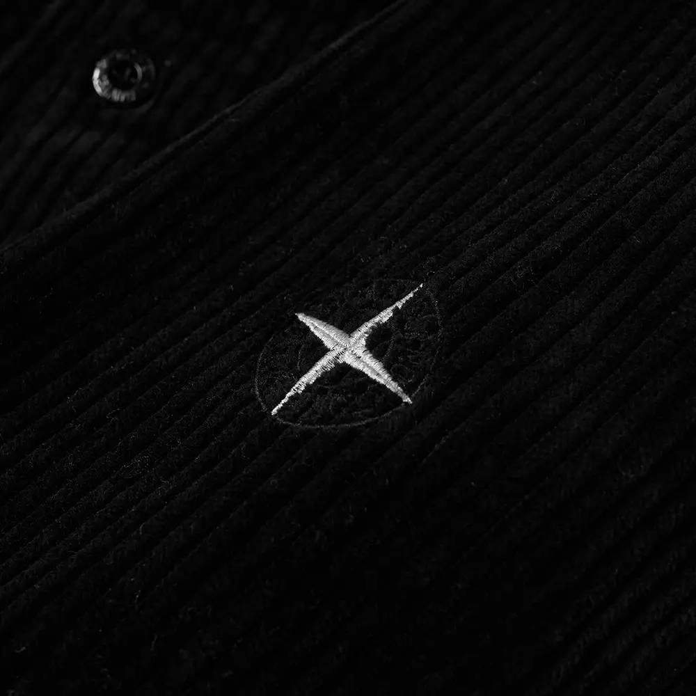 Stone Island Compass Sleeve Cord Shirt Black Detail 2
