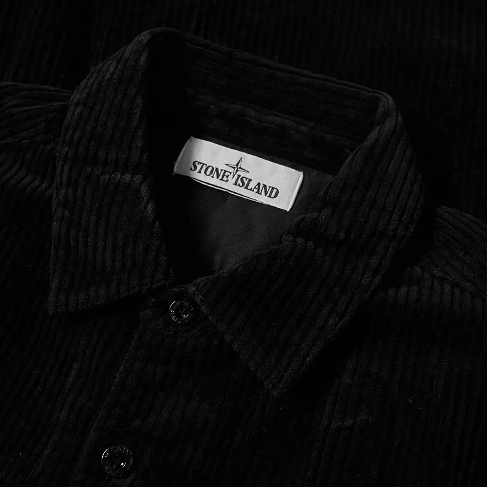 Stone Island Compass Sleeve Cord Shirt Black Detail