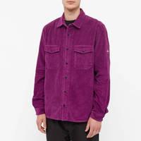 Stone Island Compass Sleeve Cord Shirt Magenta Front