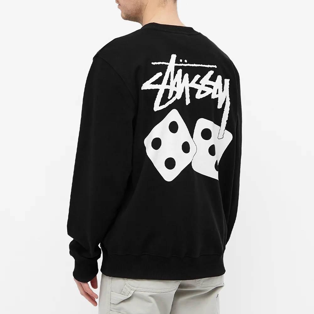 Stussy Dice Crew Sweatshirt Black Back
