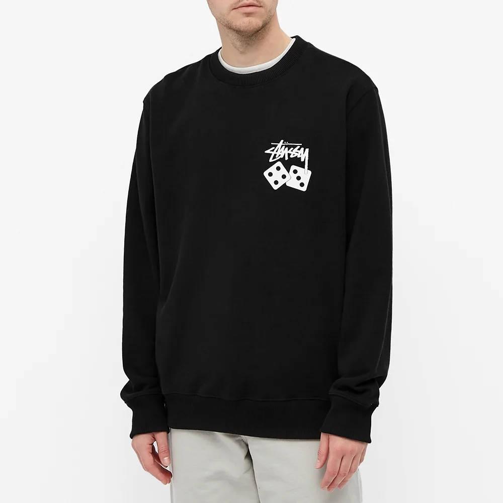 Stussy Dice Crew Sweatshirt Black Front