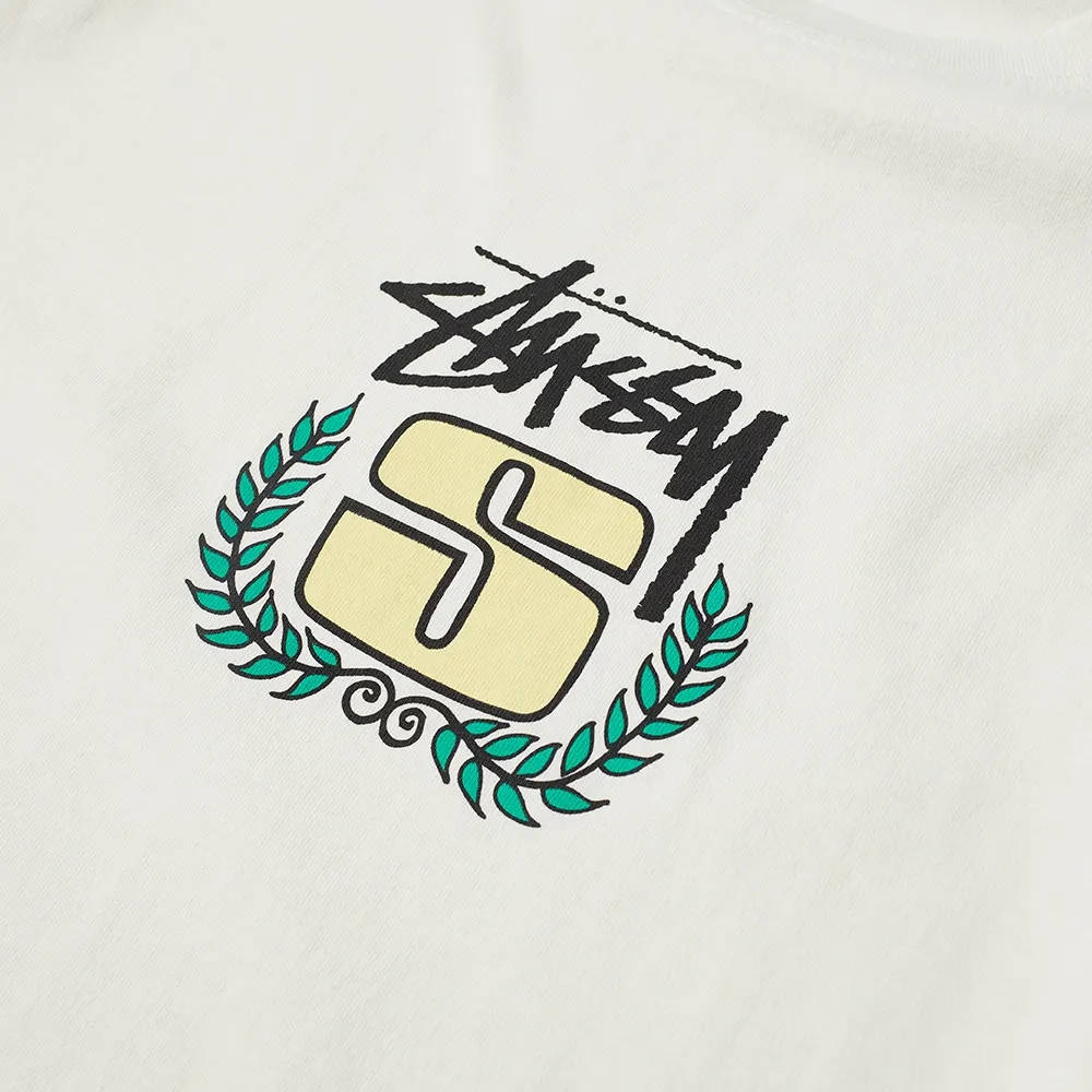 Stussy Long Sleeve S Wreath Pigment Dyed T-Shirt Natural Detail