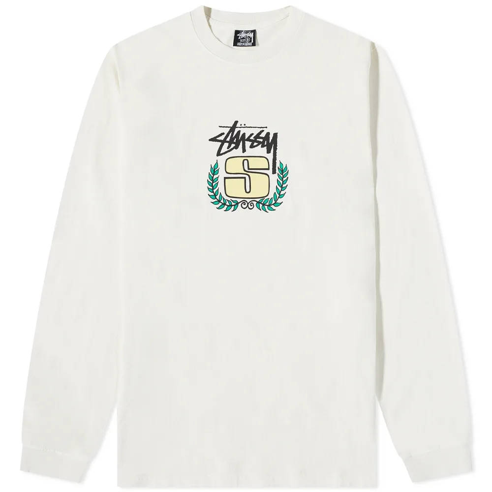Stussy Long Sleeve S Wreath Pigment Dyed T-Shirt Natural