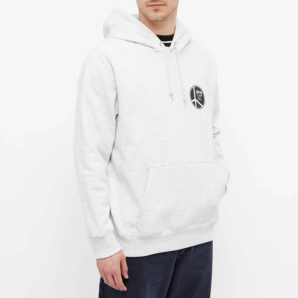 Stussy Peace Dot Hoodie Ash Heather Front