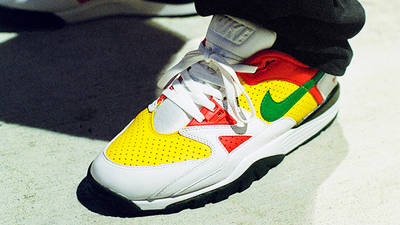 Supreme x Nike Cross Trainer Low Multi White on foot
